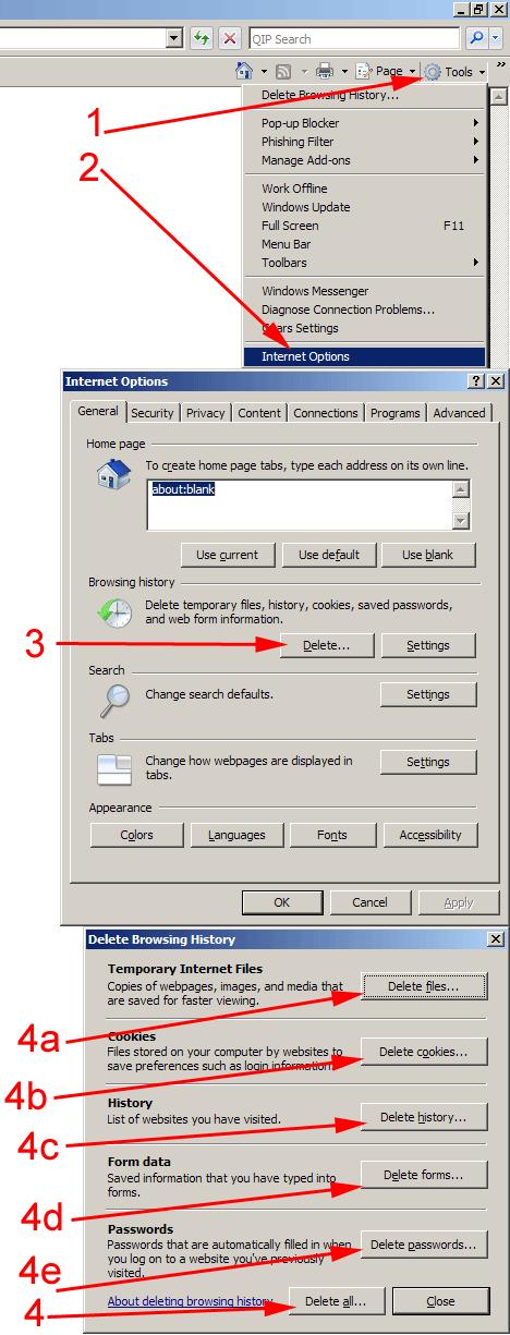 очистка кеша в Internet Explorer 7